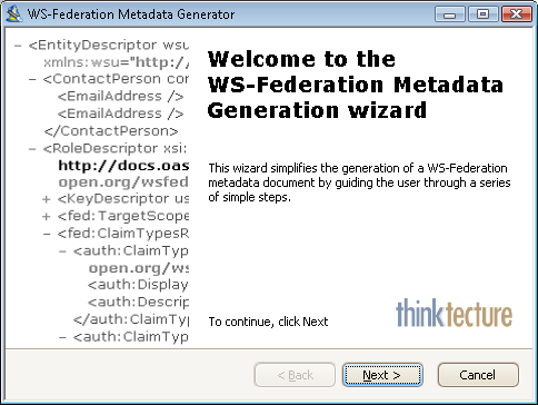 WS-Federation Metadata document generator - page 1