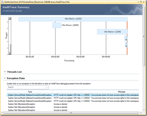 IntelliTrace when trying to start WCF service in Windows Azure